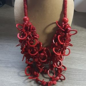 Red Wood Disks Necklace